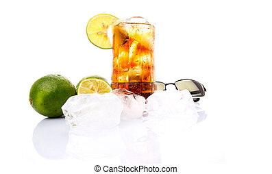 Cola Drinks With Ice Cube and Lime - Cola drinks,...