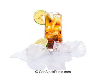 Cola Drinks With Ice Cube and Lime - Cola drinks with ice...