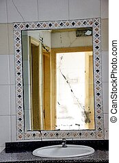 Very old mirror in the bathroom