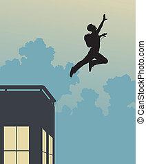 Base jump - Editable vector silhouette of a base-jumper...