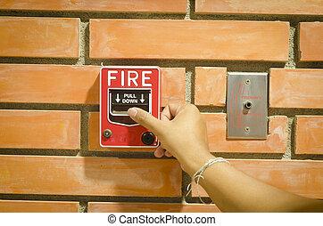 火, 警報, システム, スイッチ, セキュリティー, 建物