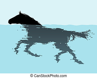Swimming horse - Editable vector illustration of a swimming...
