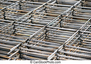 metal reinforcement background - heap of metal steel...