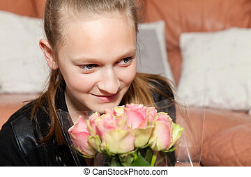 happy girl with a bunch of flowers
