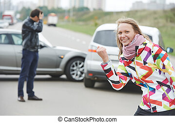 Woman driver Not guilty - Woman behind steering wheel Happy...