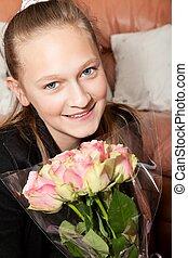 grupo, menina, flores, Feliz