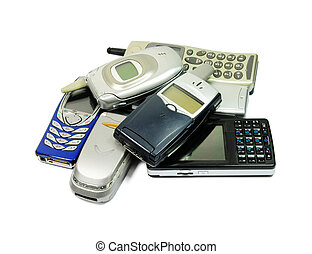 mobile phones - Picture of isolated mobile phones with white...