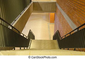 色, 暖かい, 古い, 階段, 建物