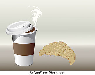 coffee and croissant - illustration of coffee and croissant