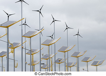 Alternative energy - Telephoto view of wind and solar power...