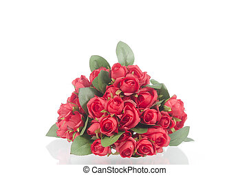 Photos of red roses isolated on white
