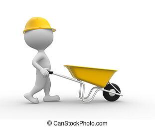 Wheelbarrow. - 3d people - man, person with a wheelbarrow....
