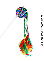 Feathered pole cat toy - Multicolored feathered pole cat toy...
