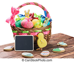 painted eggs in a basket on a table