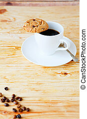 invigorating cup of coffee and cookies, food closeup