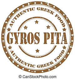 Gyros Pita-stamp - Grunge rubber stamp with text Gyros...