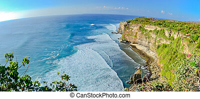 Panorama of Big cliffs with perfect waves on a sunny day at...