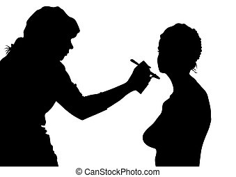 Beauty salon - Silhouettes of young girls in beauty salon