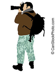 Photographer in camouflage pants whit camera