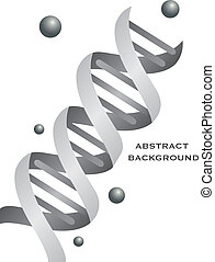 Abstract DNA background designin grey color. Vector...