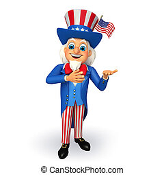 Illustarion of Uncle Sam - 3d rendered illustration of Uncle...