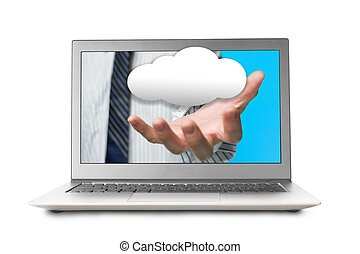 Hand out from laptop screen with cloud