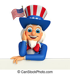 Illustration of Uncle Sam - 3d rendered illustration of...