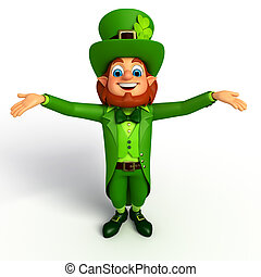 Leprechaun for Patrick's day - 3d rendered illustration of...