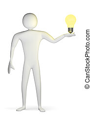 3d man with yellow light bulb on his palm
