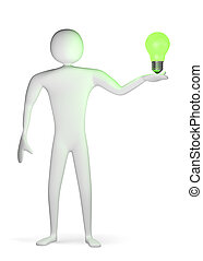 3d man with green light bulb on his palm