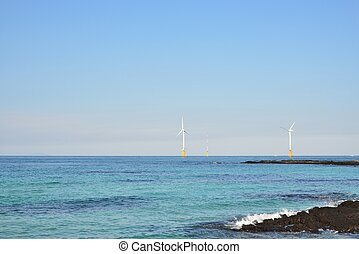 wind power generators in seaside, Jeju Island