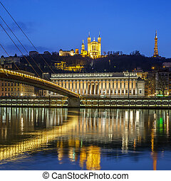 View of Saone river at Lyon by night, France