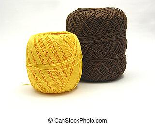 Marrom, lã, Bolas, dois, amarela