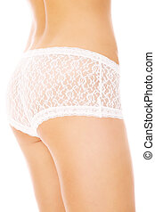 White panties - A picture of a sexy woman posing in white...