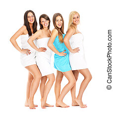 Group of friends in spa - A picture of four girl friends...