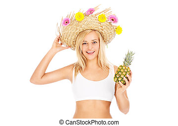 Summer woman with pineapple