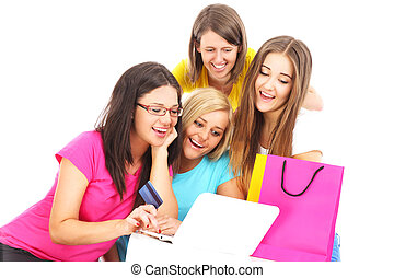 Friends shopping online - A picture of group of friends...