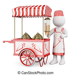3D white people. Traditional ice cream cart - 3d white...