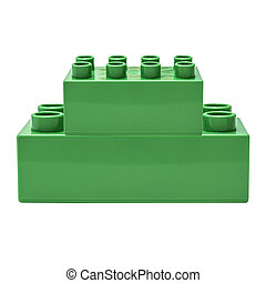 Green building block isolated on white