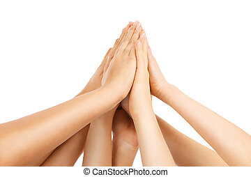 Team work - A picture of team of people showing their hands...