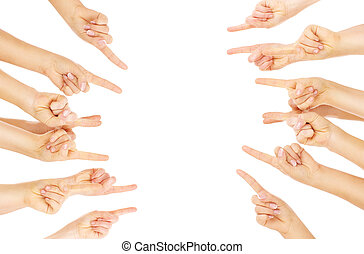 Fingers pointing - A picture of team of people pointing over...