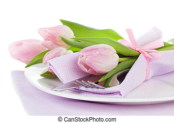 Romantic dinner / table setting with roses tulips and...