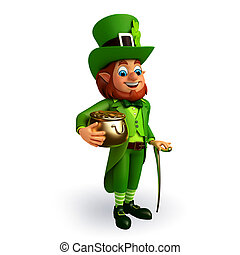 Leprechaun for patricks day - 3d rendered illustration of...