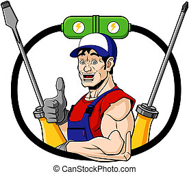 Happy electrician - Conceptual illustration of a smiling...