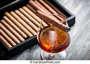 abrasador, cigarro, vidrio, Coñac