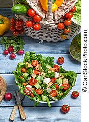 sano, primavera, preparando, ensalada