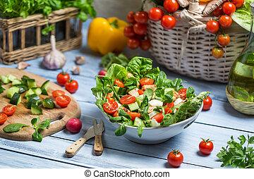 sano, fresco, ensalada, primavera