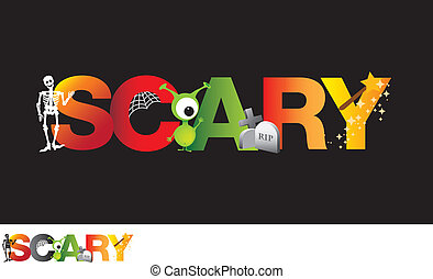 the word scary as a cartoon typograpy