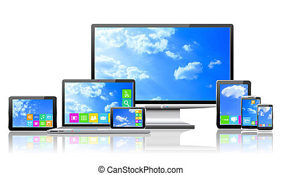 Computers and cloudy sky concept. - Laptop, tablet pc,...