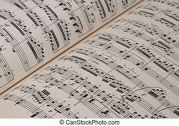 Music sheet - Closeup of classical music sheets on an old...